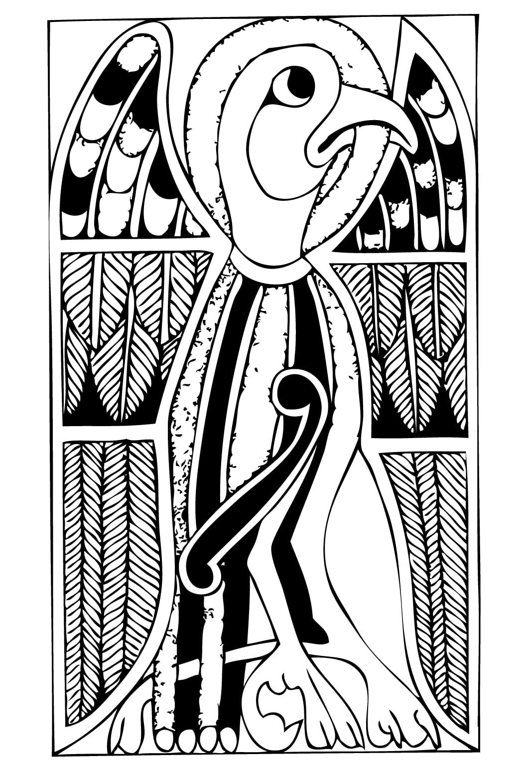 Animal représenté dans un coloriage inspiré par l'Art celtique