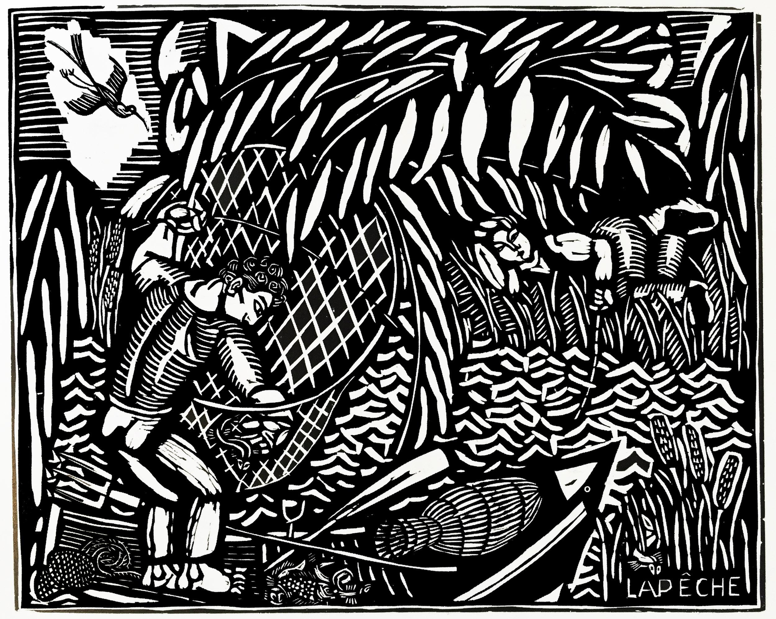 Coloriage créé à partir d'une gravure sur bois de style Art Déco de Raoul Dufy (La pêche - 1910)