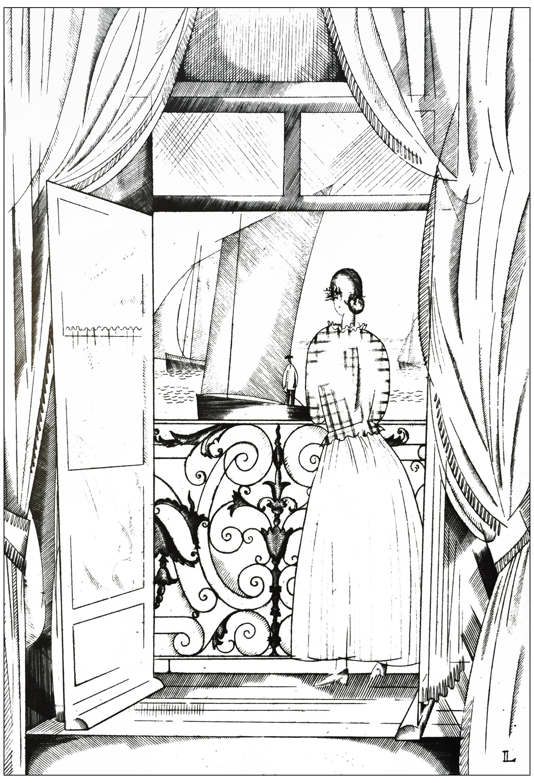 Coloriage créé à partir d'un dessin style Art Déco de Jean-Emile Laboureur : Le balcon sur la mer (1923)