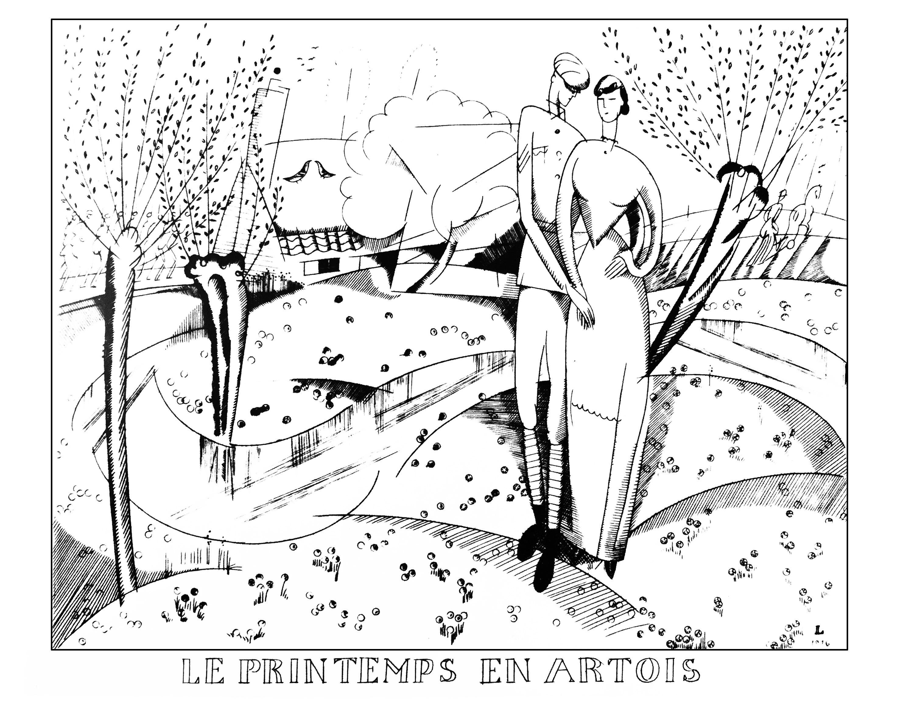 Coloriage créé à partir d'un dessin style Art Déco de Jean-Emile Laboureur : Le printemps en Artois (1916)
