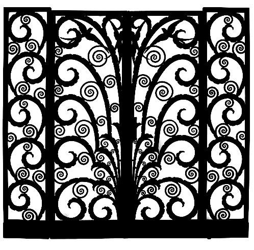 Photo noir et blanc au contraste accentué d'un portail style Art Déco