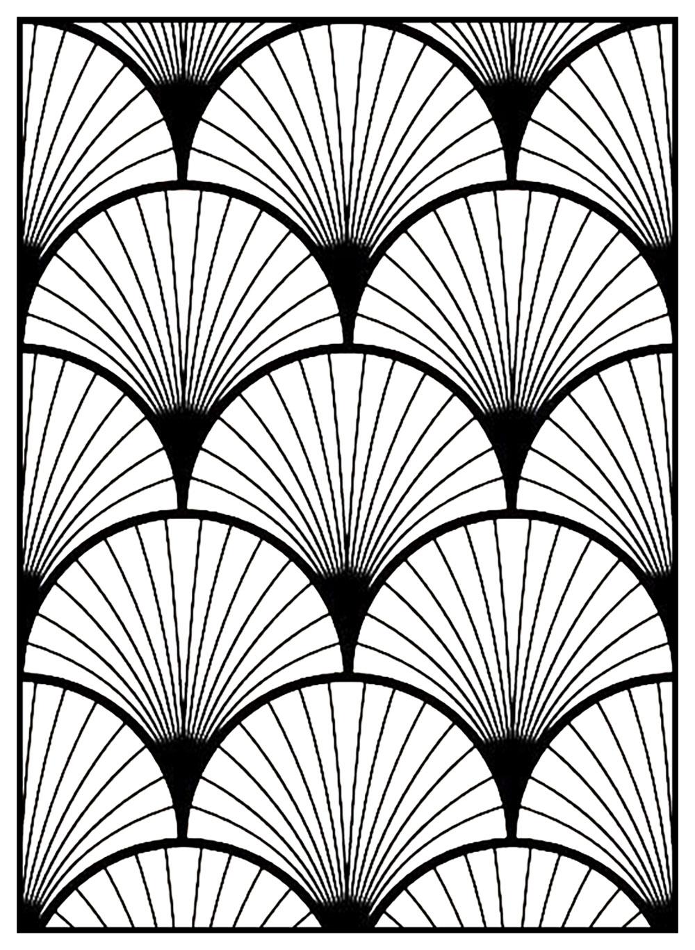 Motif Art Déco à colorier - Style n°3