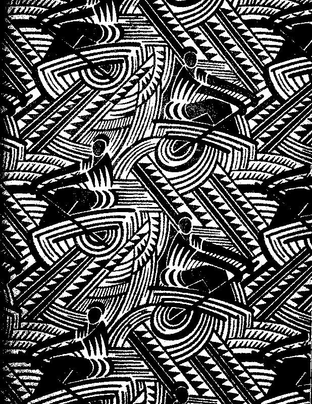 Textile Russe style Art Deco (mis en noir et blanc, contraste accentué)