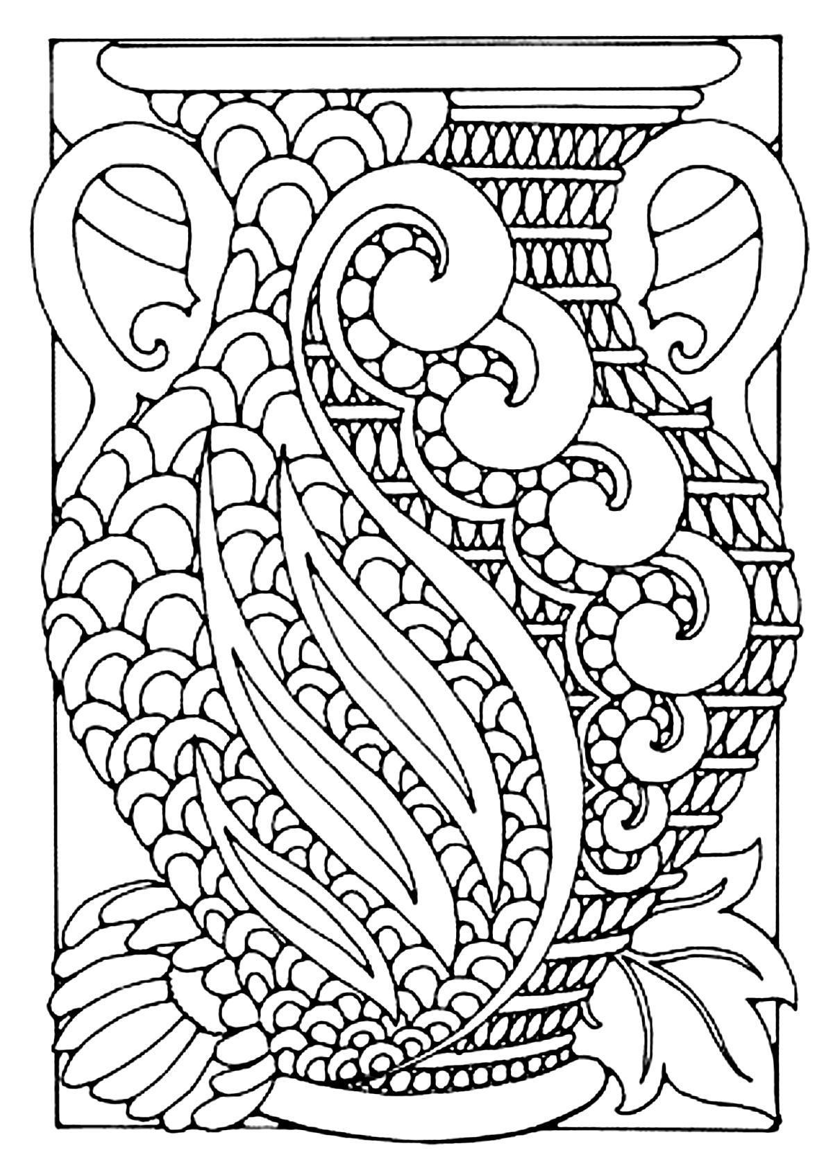 Vase style art deco - Art Déco - Coloriages difficiles pour adultes