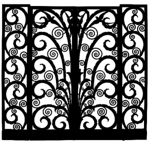coloriage-adulte-grille-entree-fer-art-deco free to print