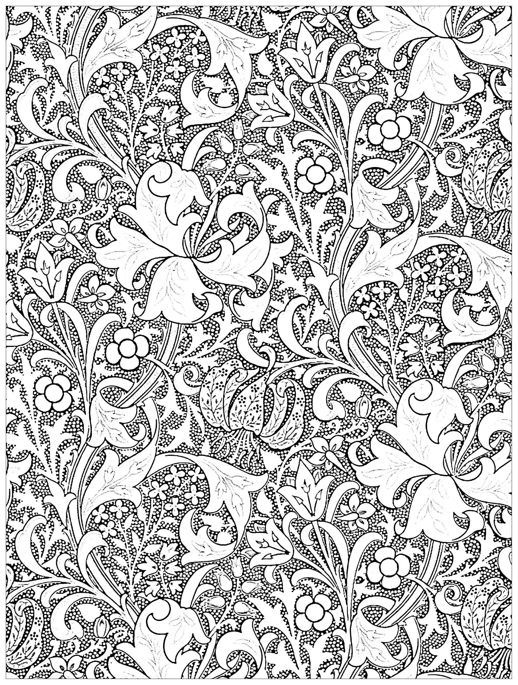 Coloriage exclusif réalisé à partir d'une oeuvre Art Nouveau sur textile de John Henry Dearle : Golden Lily (1899) ... Coloriez ces tiges et tendres lys entrelacés ...