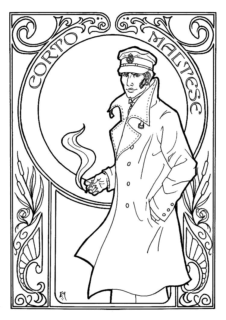 Dessin représentant Corto Maltese, style Art Nouveau
