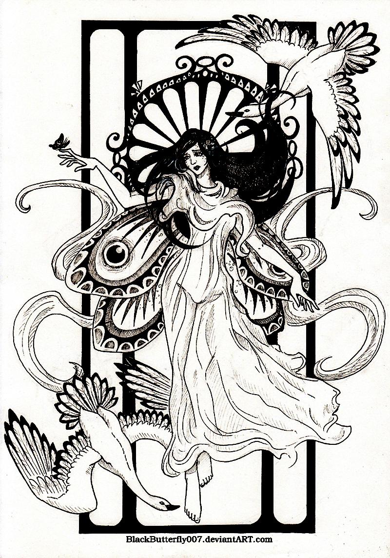 Magnifique dessin moderne s'inspirant de l'Art Nouveau
