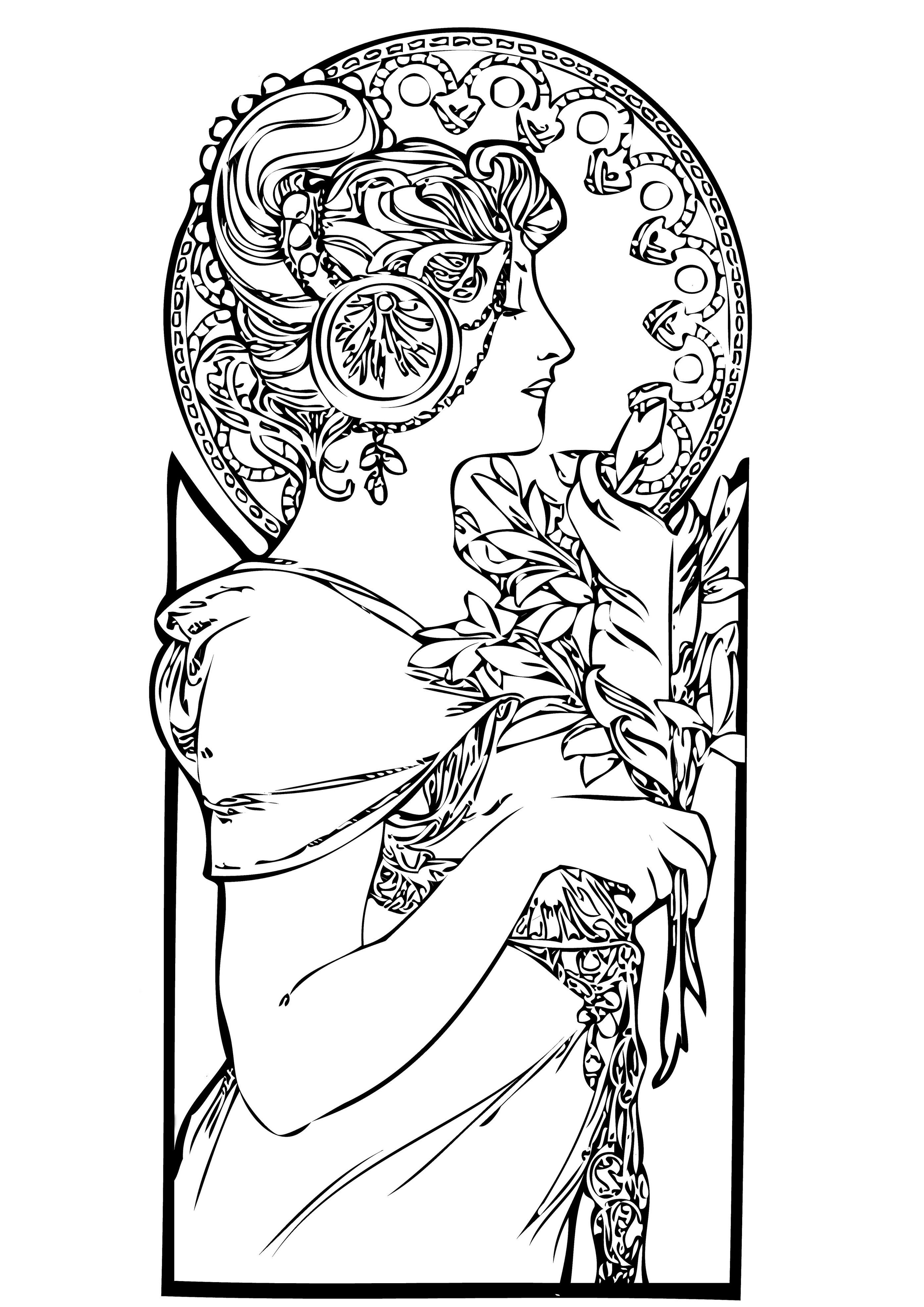 Dessin de femme de profil, style Art nouveau