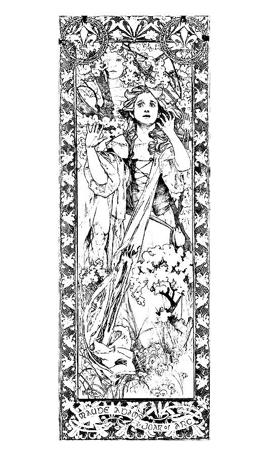 Maude Adams en Jeanne d'Arc. Alfons Mucha, 1909. Version mise en noir et blanc pour pouvoir être coloriée !