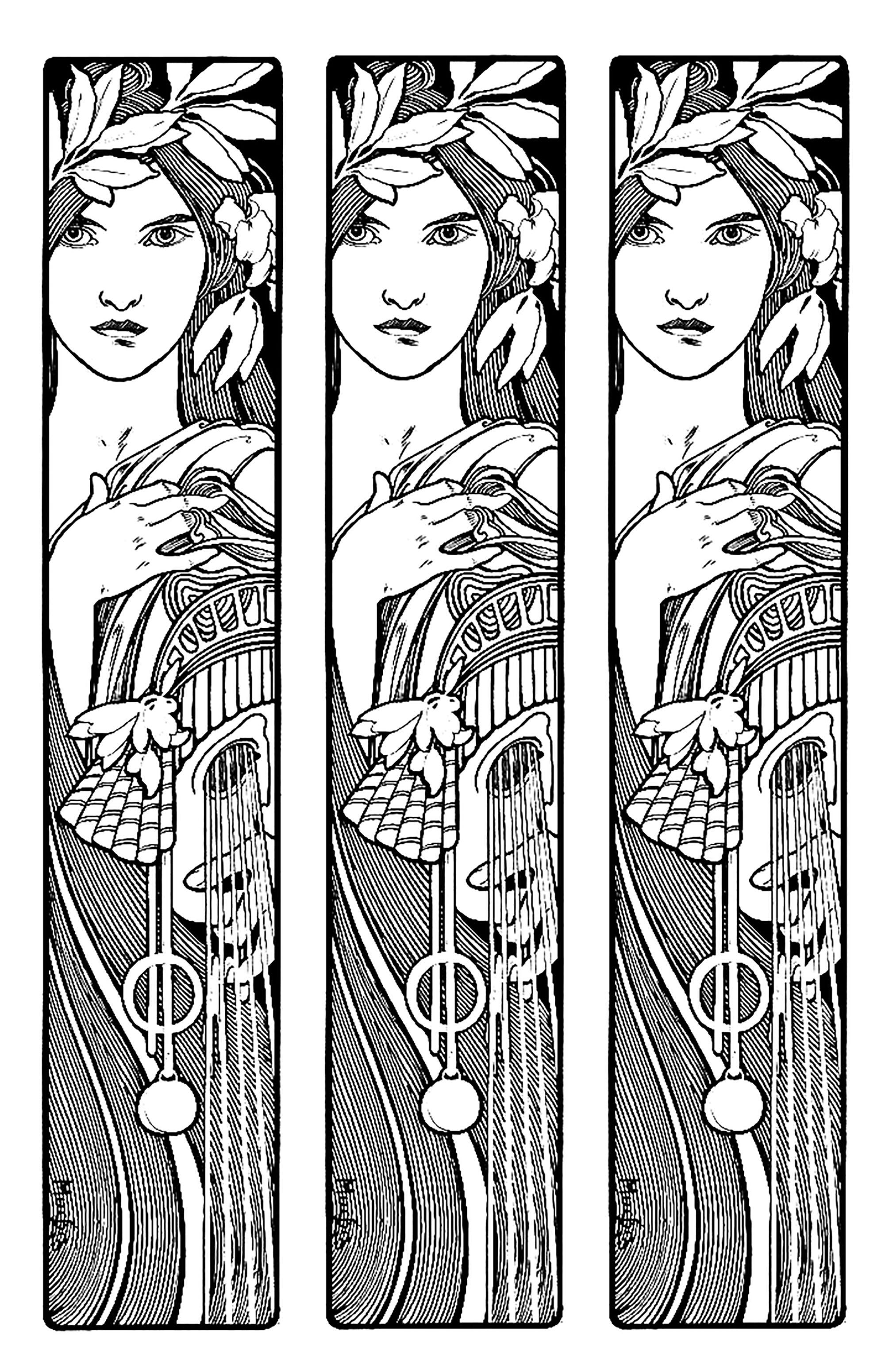 Un coloriage style 'Triptyque', inspiré d'une oeuvre du célèbre Alfons Mucha