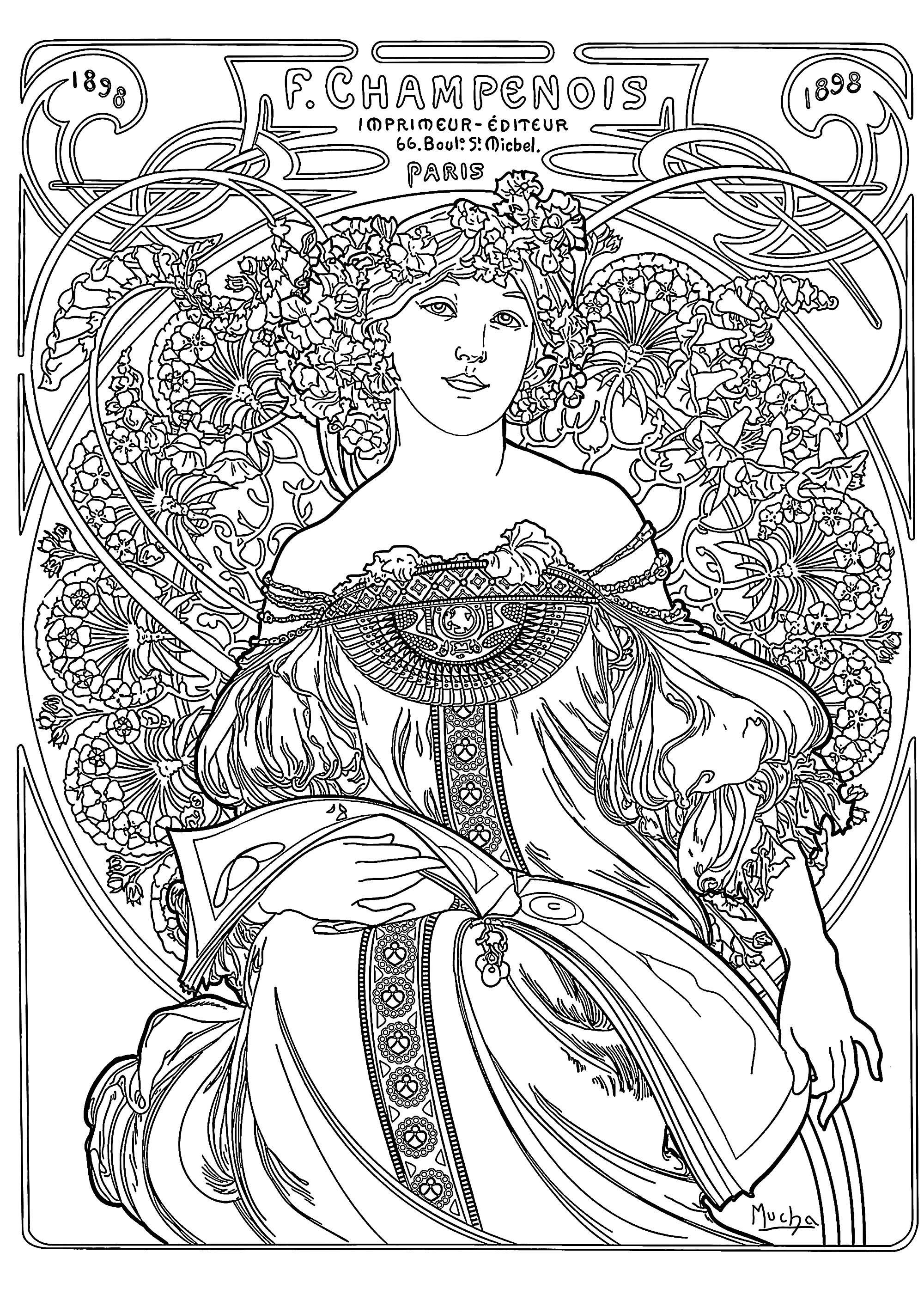 Coloriage créé à partir d'une affiche publicitaire réalisée en 1897 par Alfons Mucha, pour l'imprimeur parisien Champenois