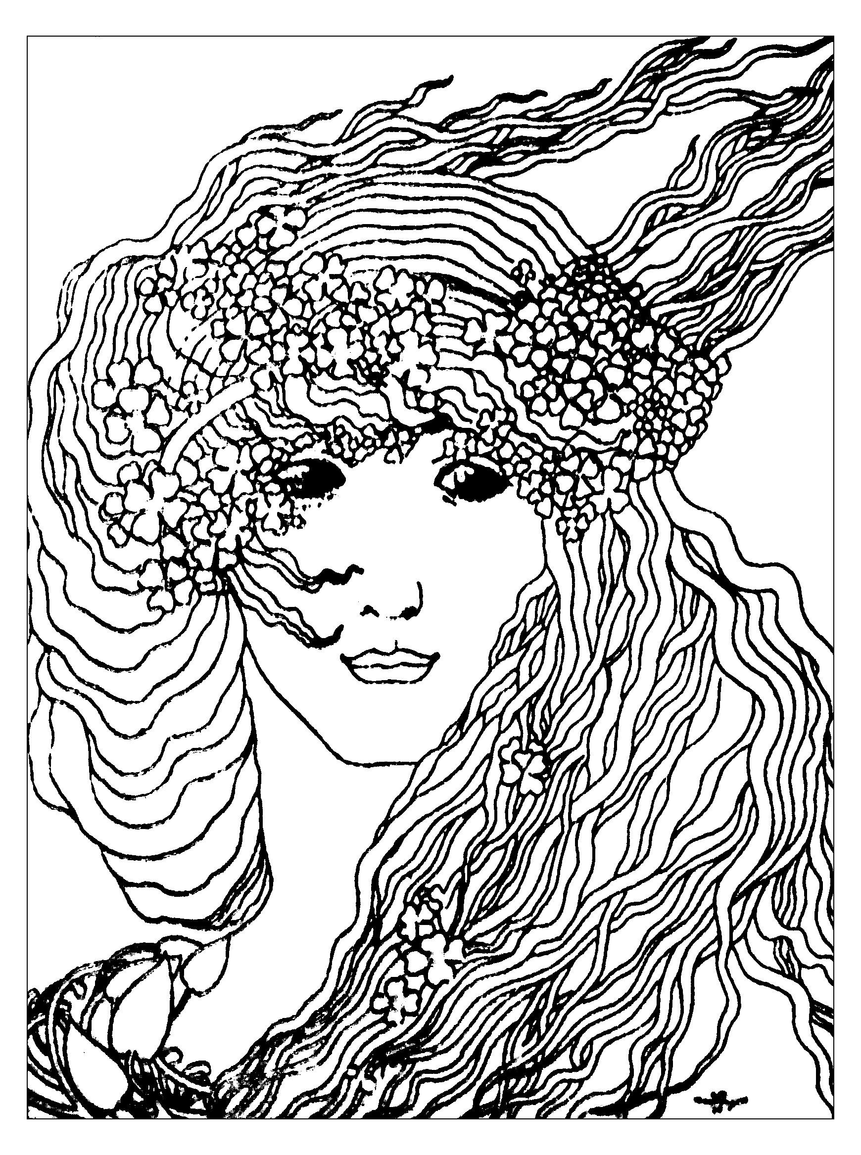 Coloriage créé à partir de 'Climax' de Aubrey Vincent Beardsley 1893