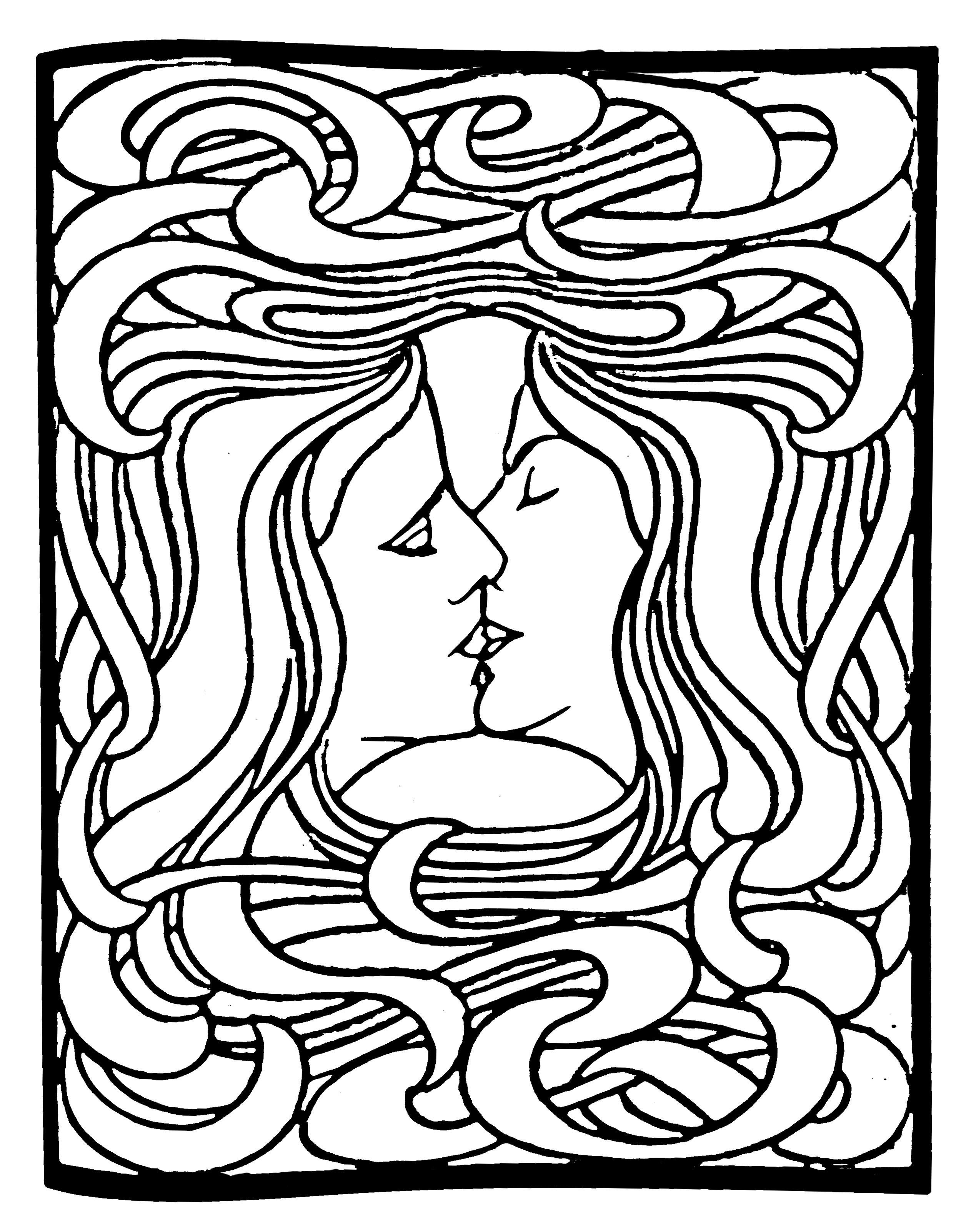 Coloriage créé à partir de 'Le Baiser' de Peter Behrens (Gravure sur bois) (1898)