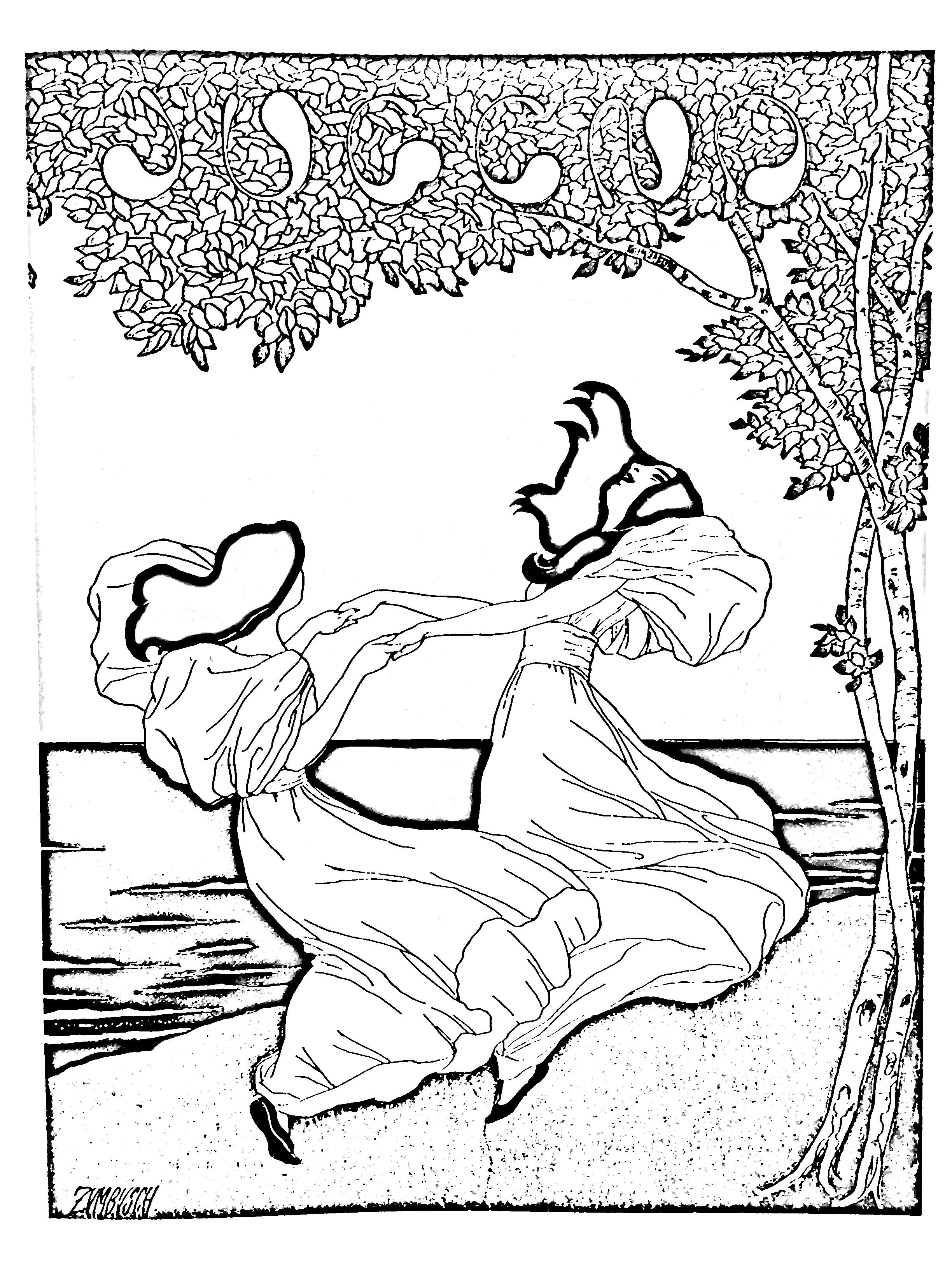 Coloriage créé à partir d'une Lithographie de Ludwig von Zumbush (1900)
