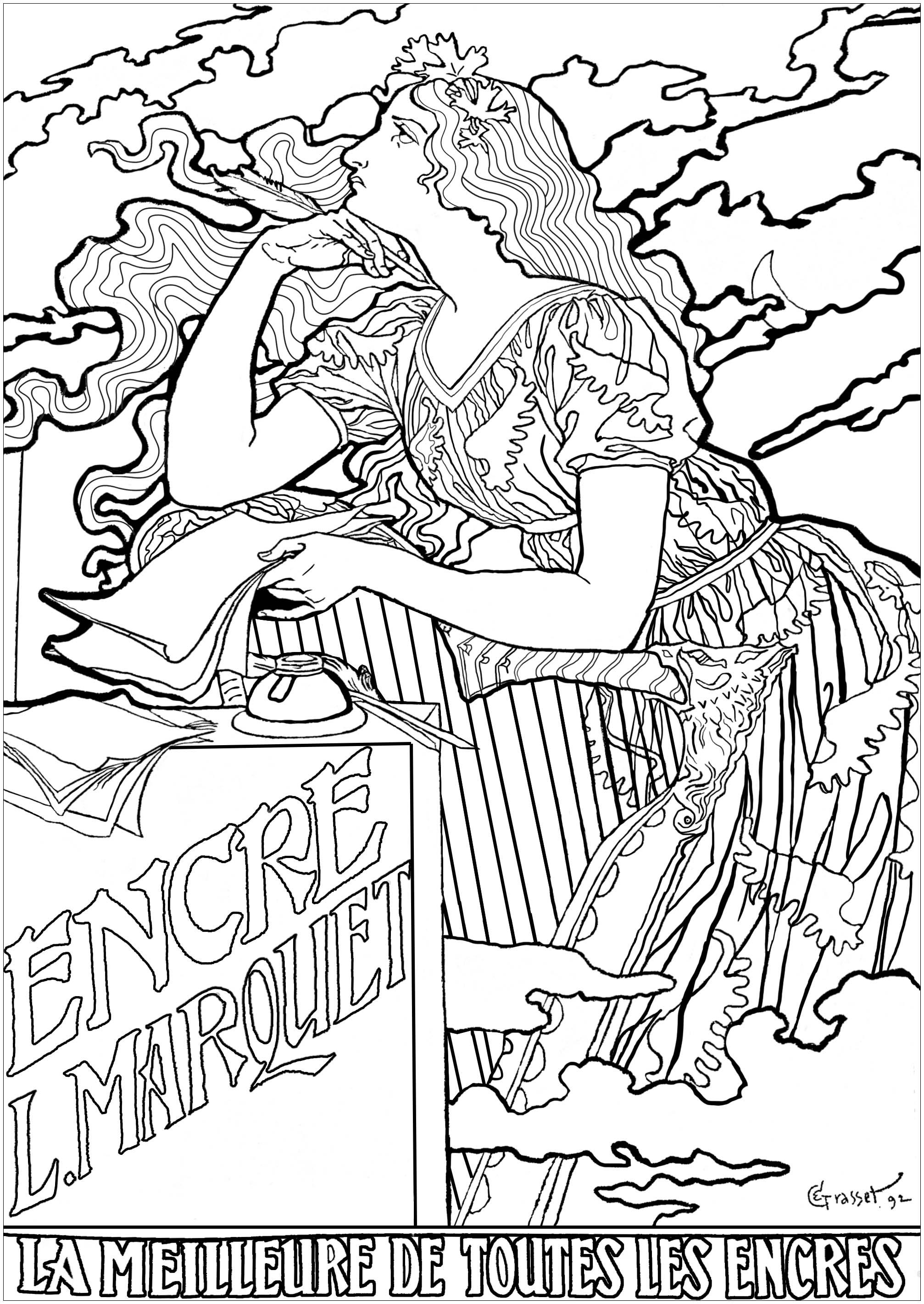 Coloriage réalisé à partir d'une affiche publicitaire de 1892, très représentative du style Art Nouveau, créée par Eugène Grasset pour une marque d'encre
