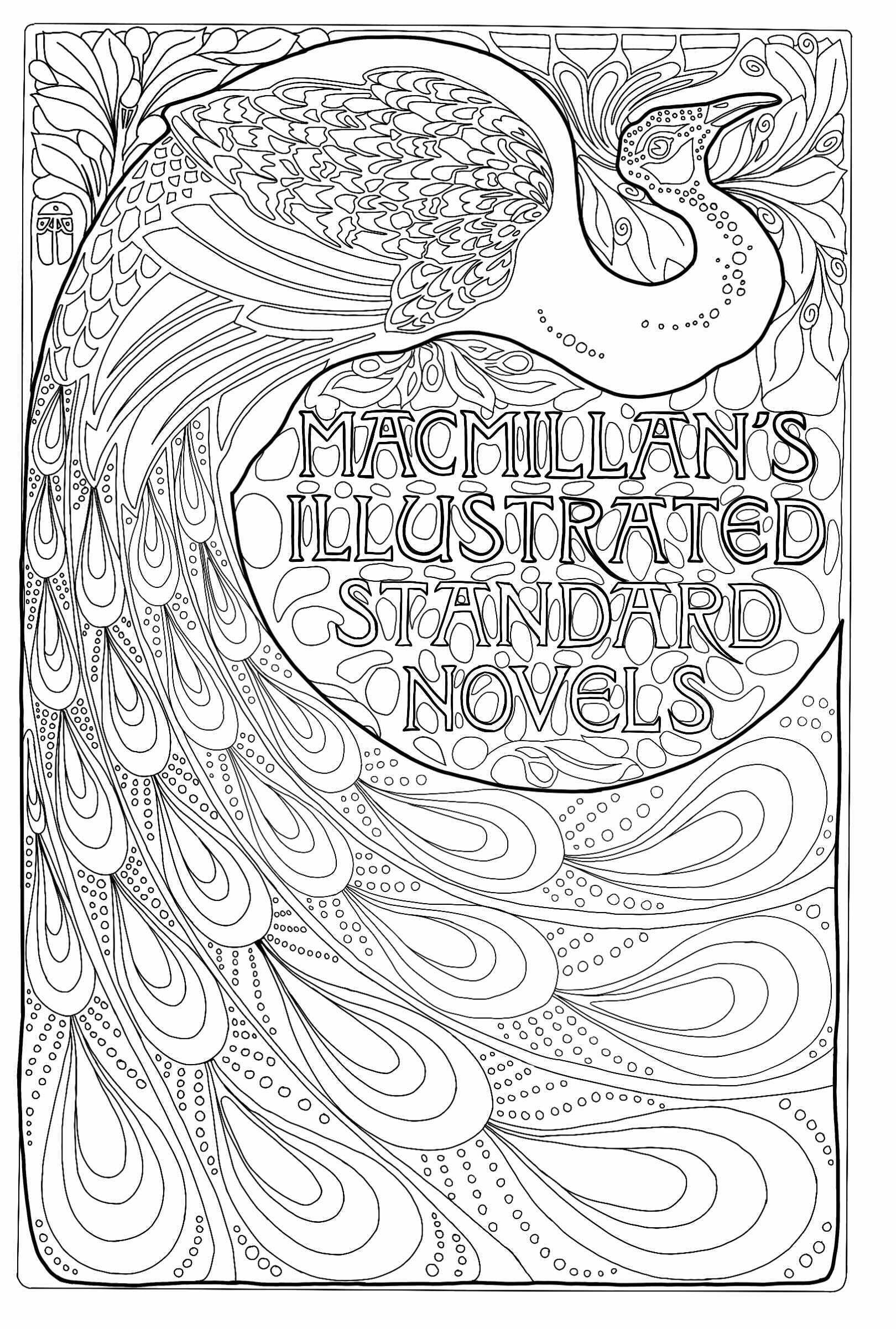MacMillan's Illustrated Standard Novels : Couverture de livre Art Nouveau avec un paon (1896).  Créé par Albert Angus Turbayne, illustrateur américain (1866, 1940).