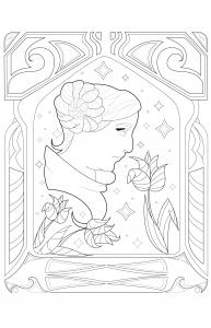 coloriage-adulte-Princesse-Leia-par-Juline free to print