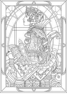 coloriage-adulte-reine-profil-style-art-nouveau free to print