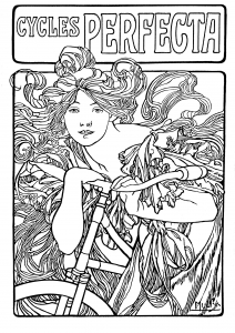 Coloriage cycles perfecta alfons mucha