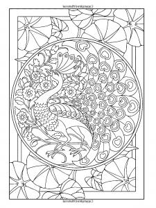 Coloriage style art nouveau paon