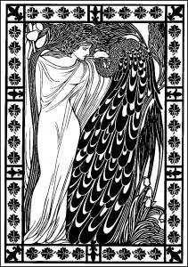 Coloriage will bradley femme paon art nouveau