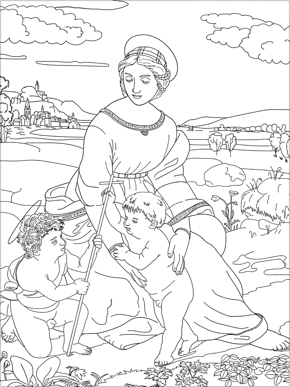 Coloriage inspiré par une oeuvre de Raphaël : La Madone à la prairie