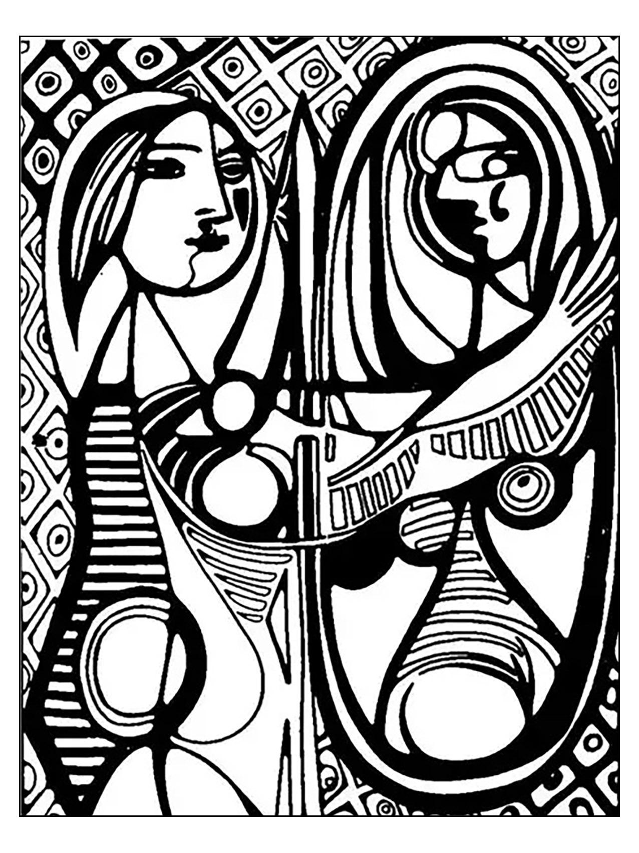 Coloriage inspiré par 'La femme au miroir' de Picasso (1932)