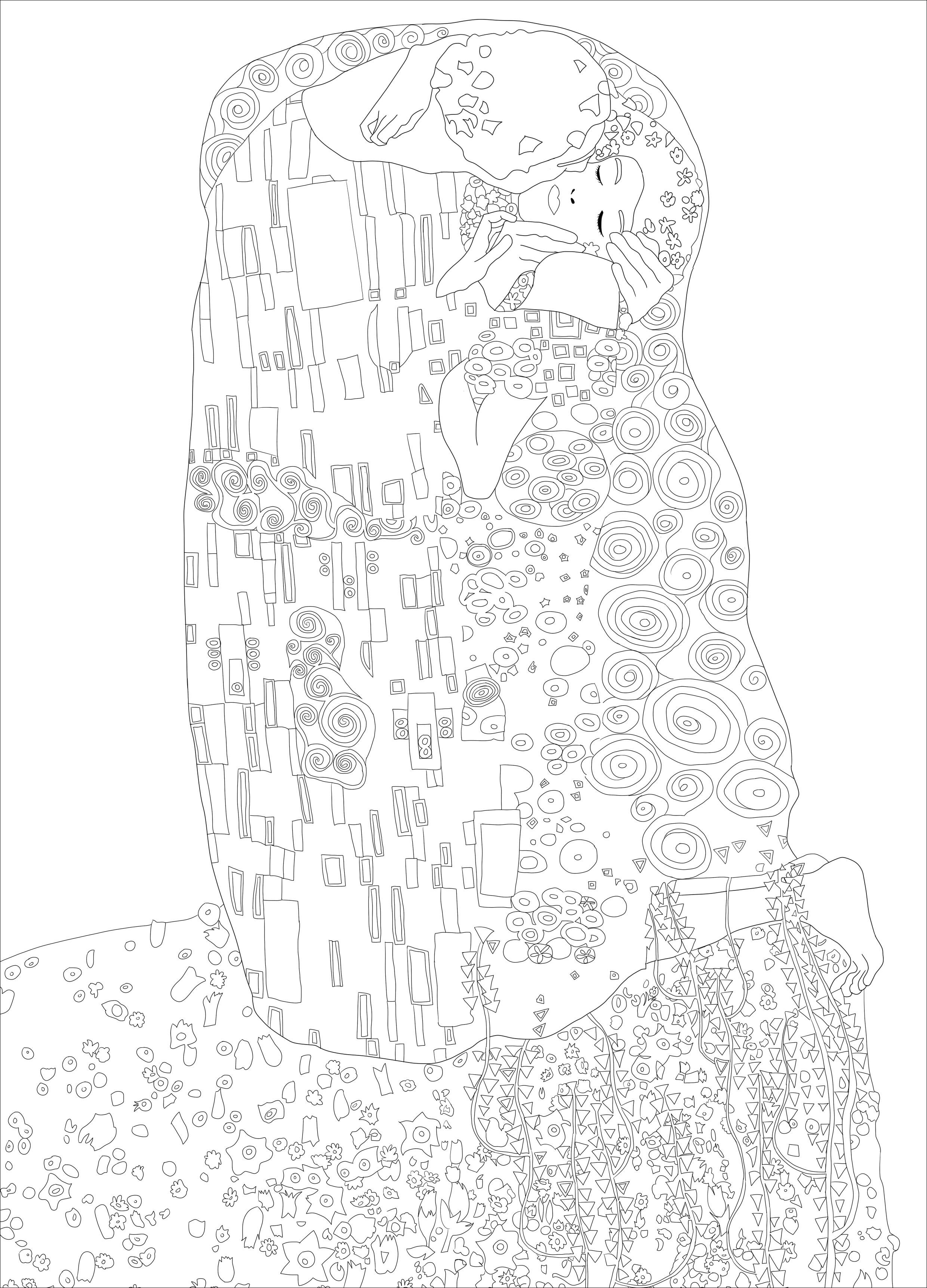 Coloriage créé à partir de l'oeuvre 'Le baiser' de Gustav Klimt (1907–1908)