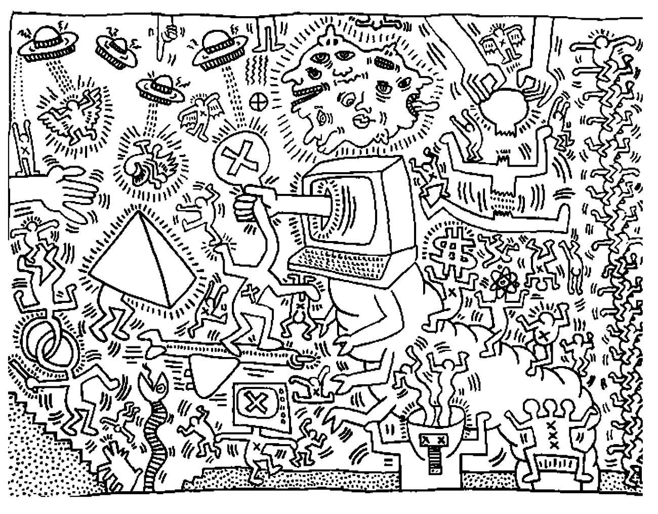 Keith haring 5 | Chefs d'œuvres - Coloriages difficiles pour adultes | JustColor