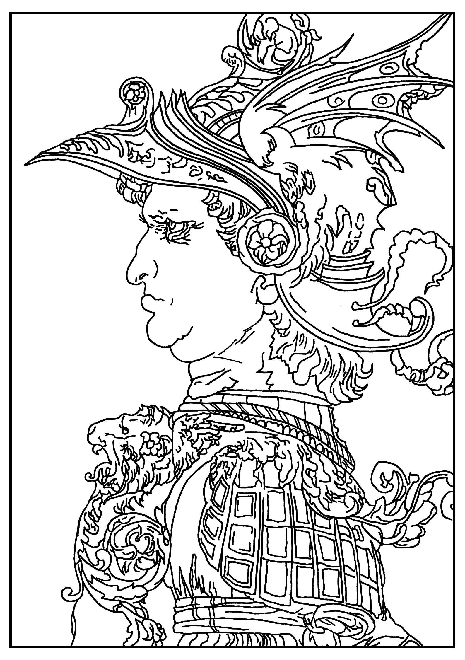 Coloriage réalisé à parti d'un dessin de Leonard de Vinci datant de 1477 : Buste d'un guerrier.