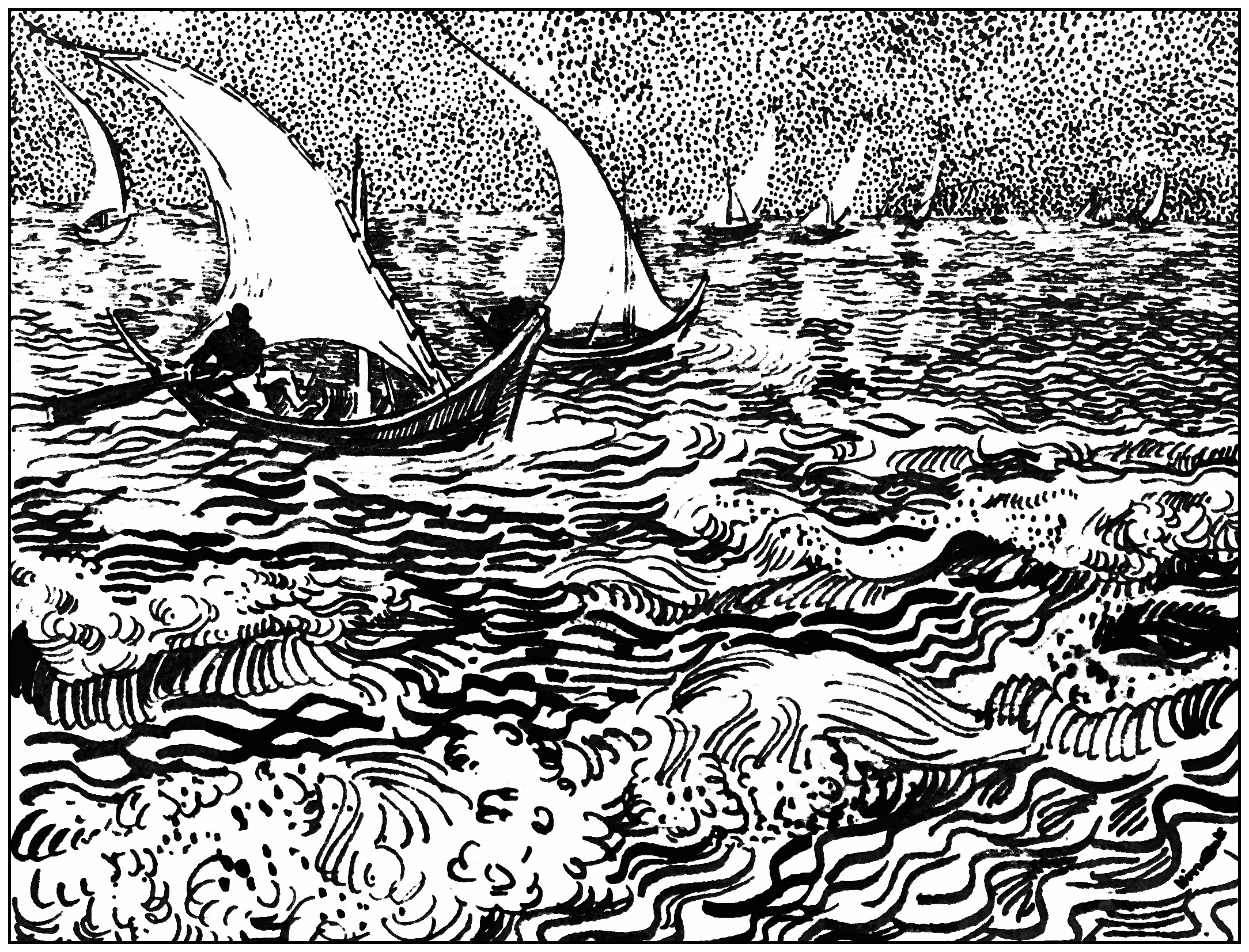 Van gogh marine aux saintes marie de la mer 1888 chefs d - Coloriage van gogh ...