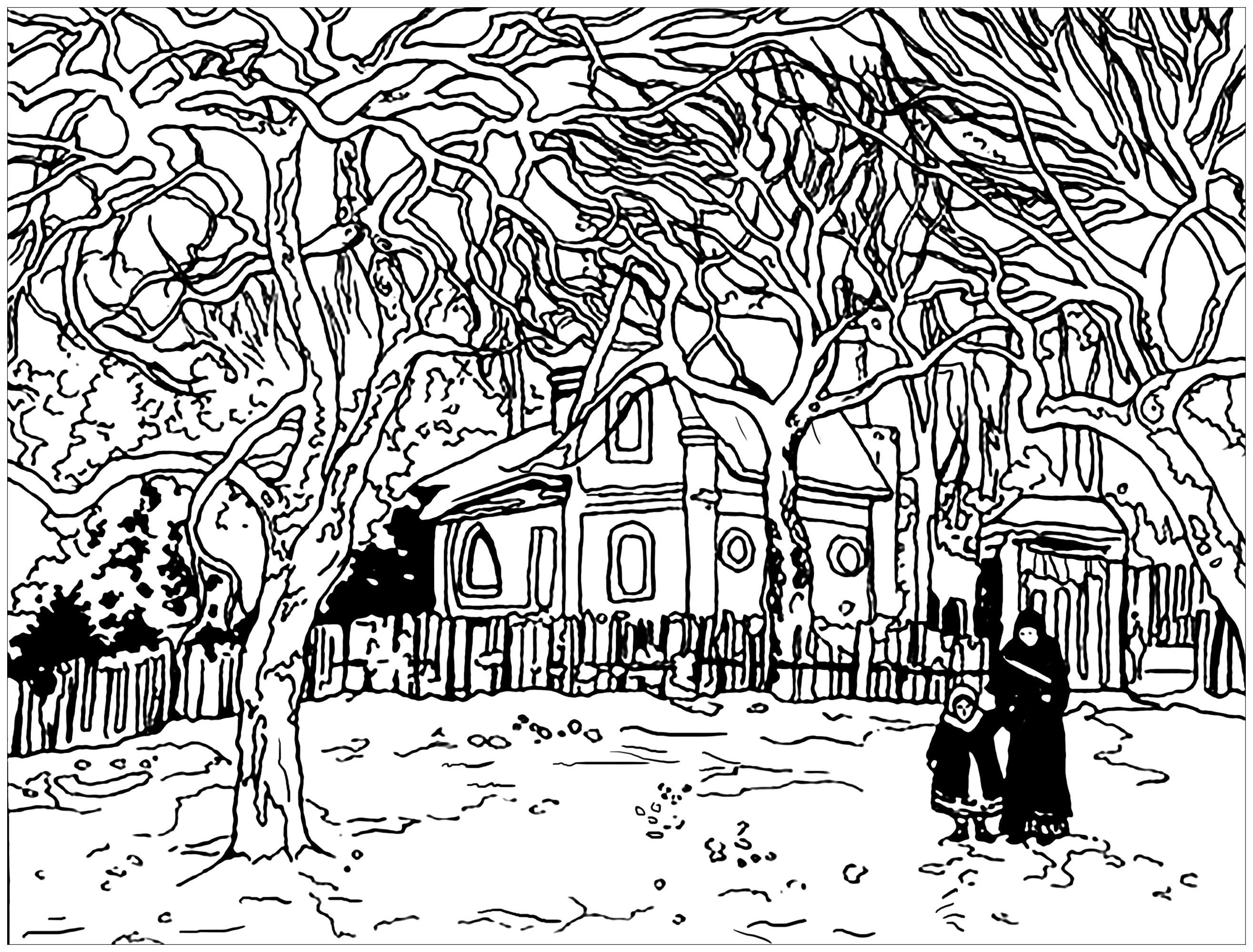 Coloriage inspiré d'un tableau de Camille Pissaro : Marronniers à Louveciennes