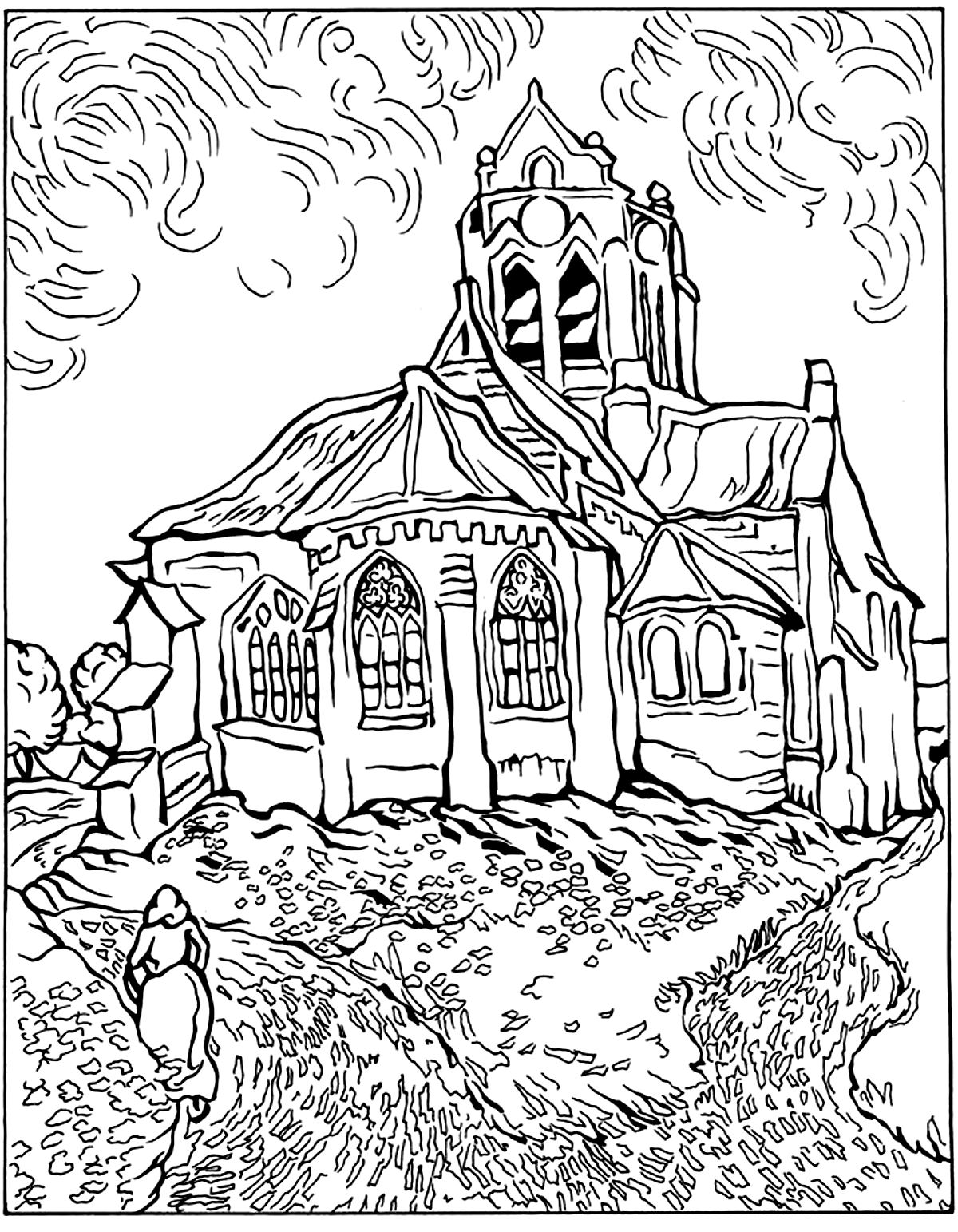 Van gogh eglise auvers chefs d uvres coloriages - Coloriage eglise ...
