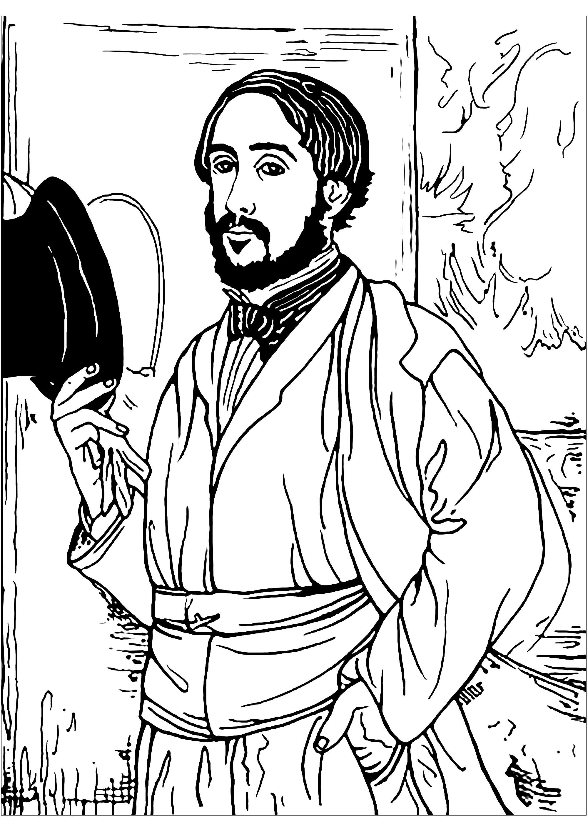 Un Auto-portrait d'Edgar Degas à colorier