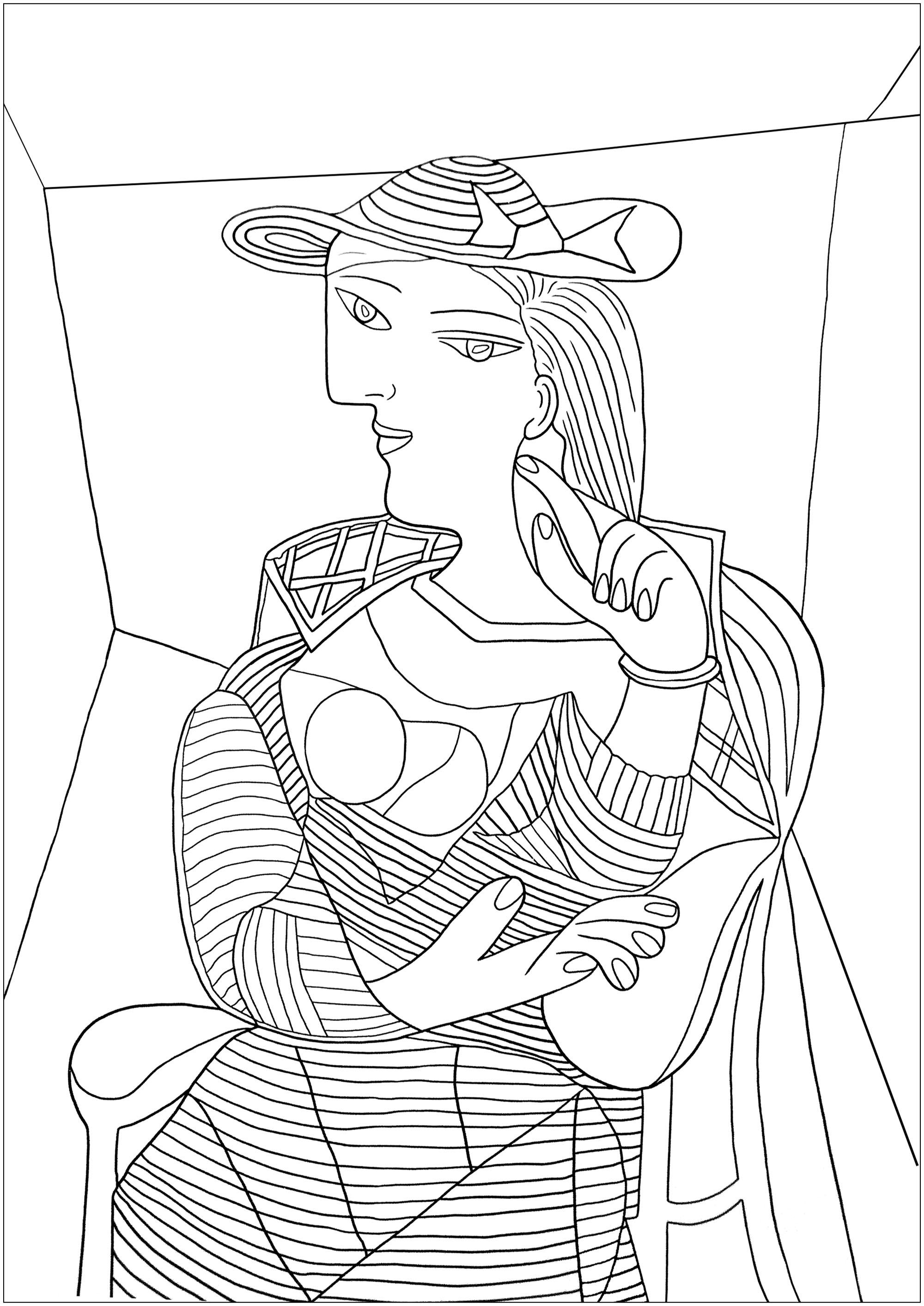Coloriage créé à partir du tableau 'Portrait de Marie Therese Walter' de Pablo Picasso
