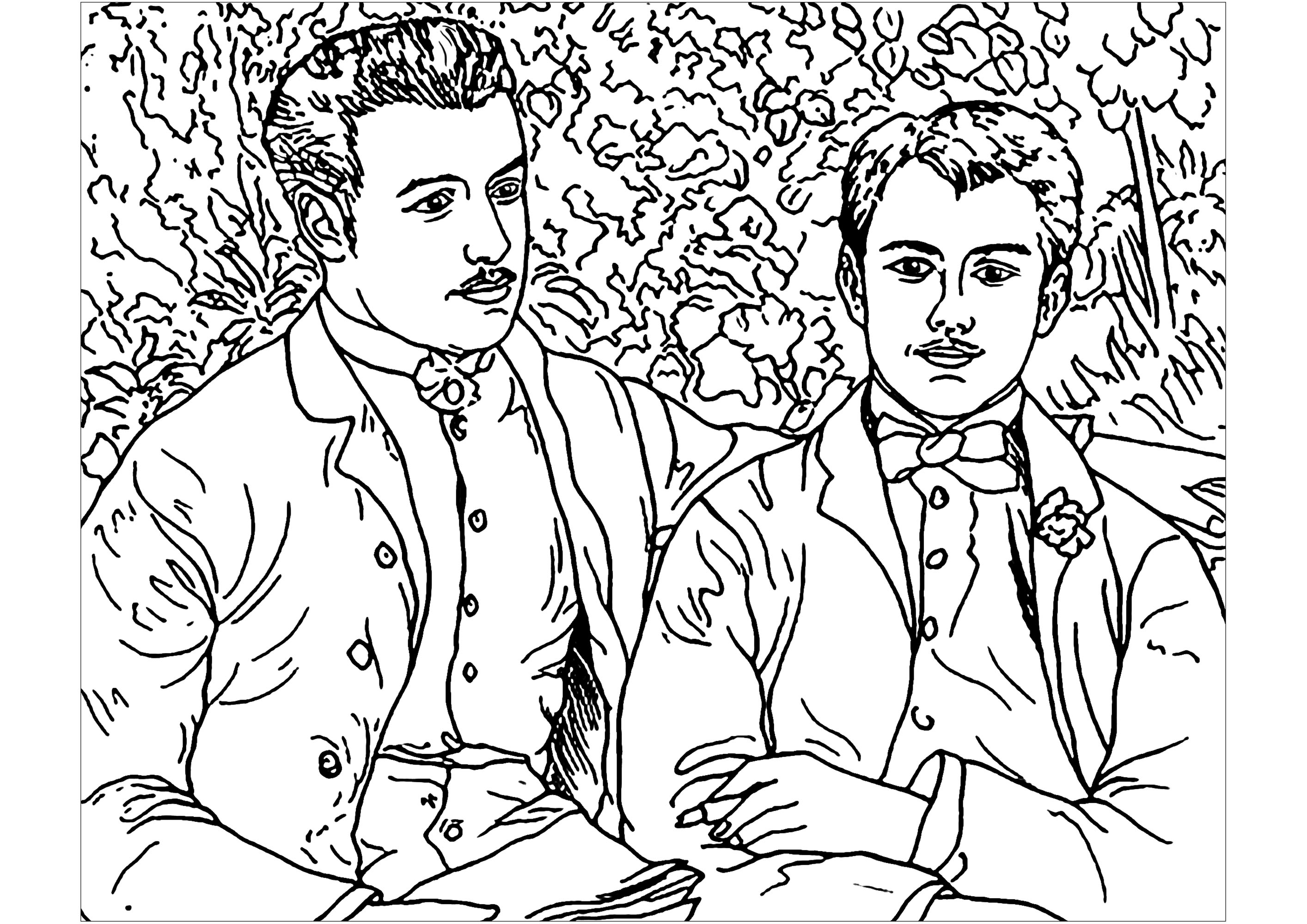 Coloriage créé à partir d'un double portrait de l'artiste Impressionniste Auguste Renoir : Charles et Georges Durand-Ruel