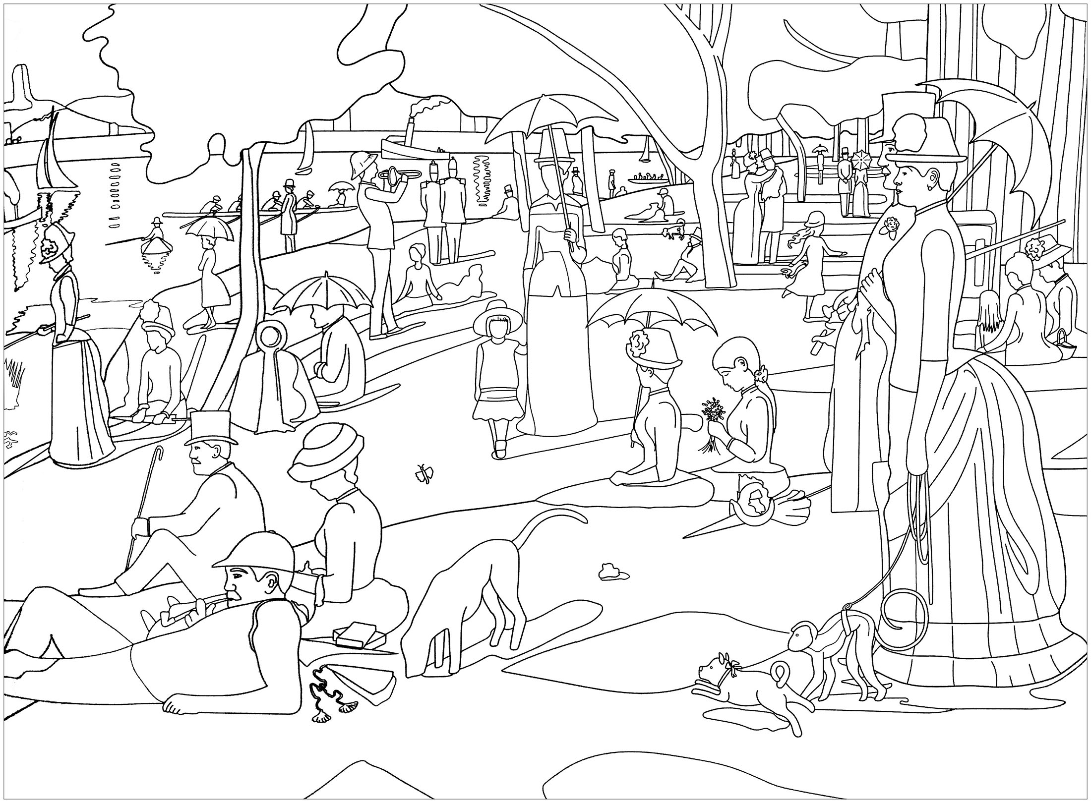 Coloriage inspiré de l'oeuvre de George Seurat, maître du pointillisme : Un dimanche après-midi à l'Île de la Grande Jatte