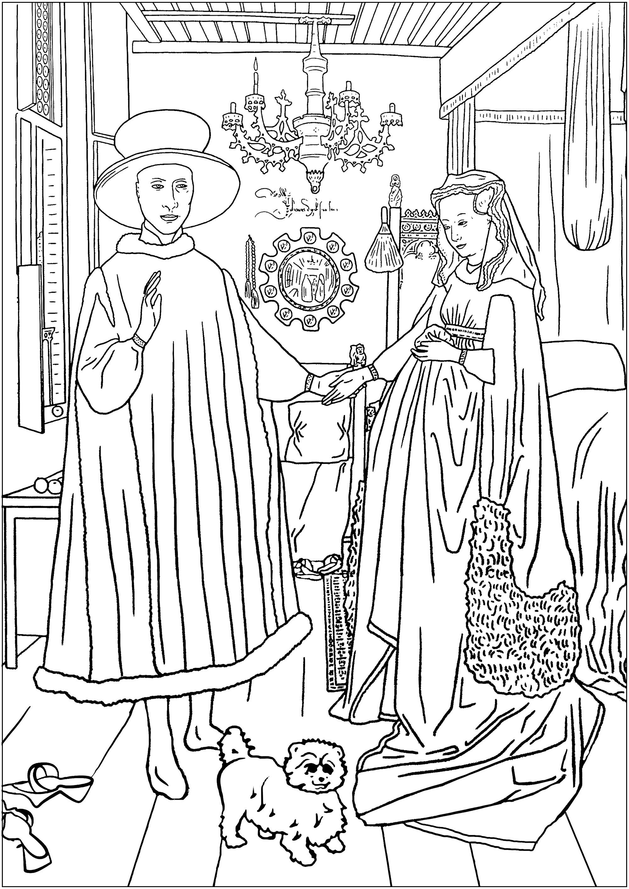 Coloriage créé à partir du tableau 'Les époux Arnolfini' de Jan Van Eyck