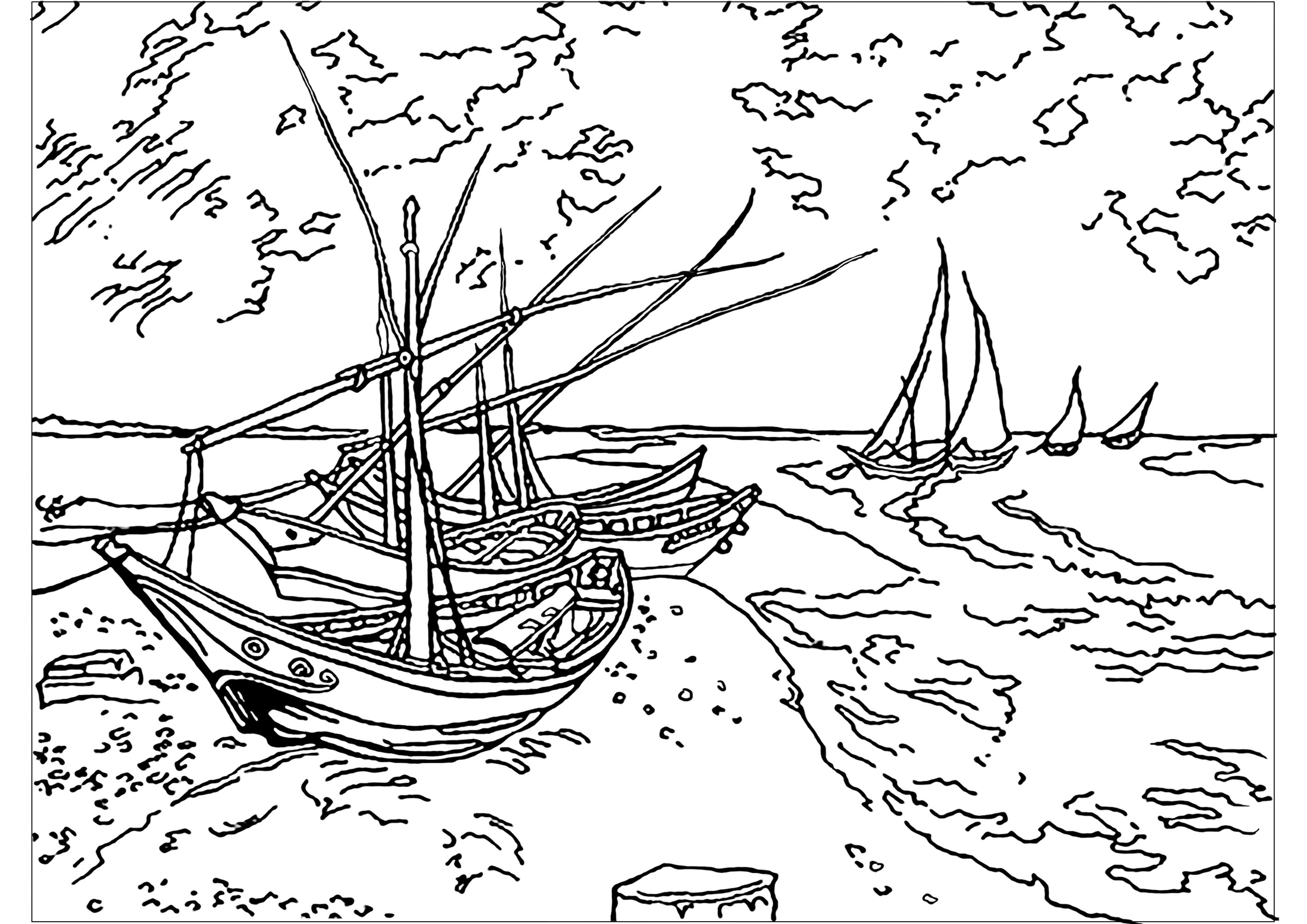 Coloriage inspiré d'un tableau du grand Vincent Van Gogh : Barques aux Saintes-Maries