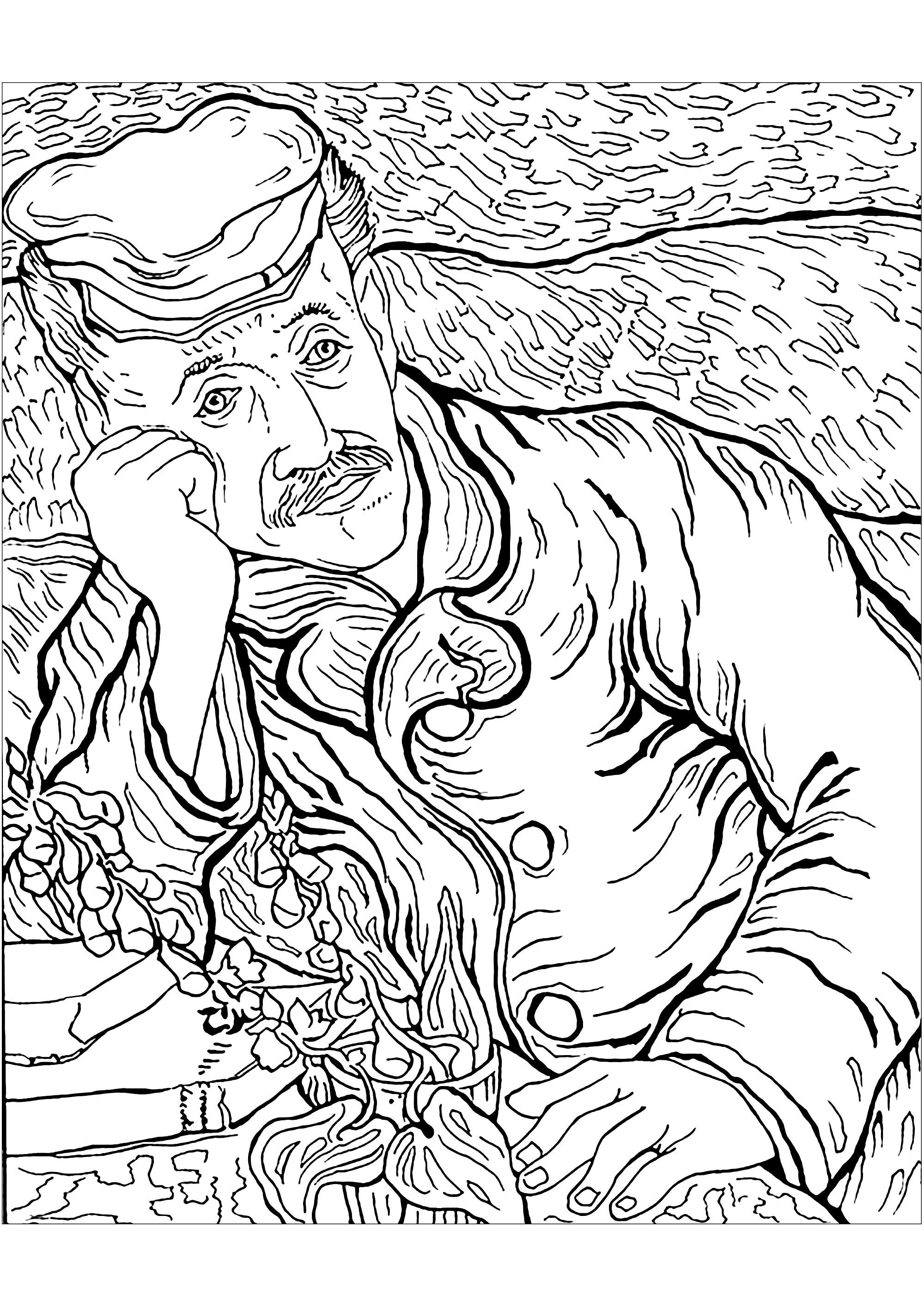Coloriage créé à partir d'un tableau du grand Vincent Van Gogh : Portrait du Docteur Gachet