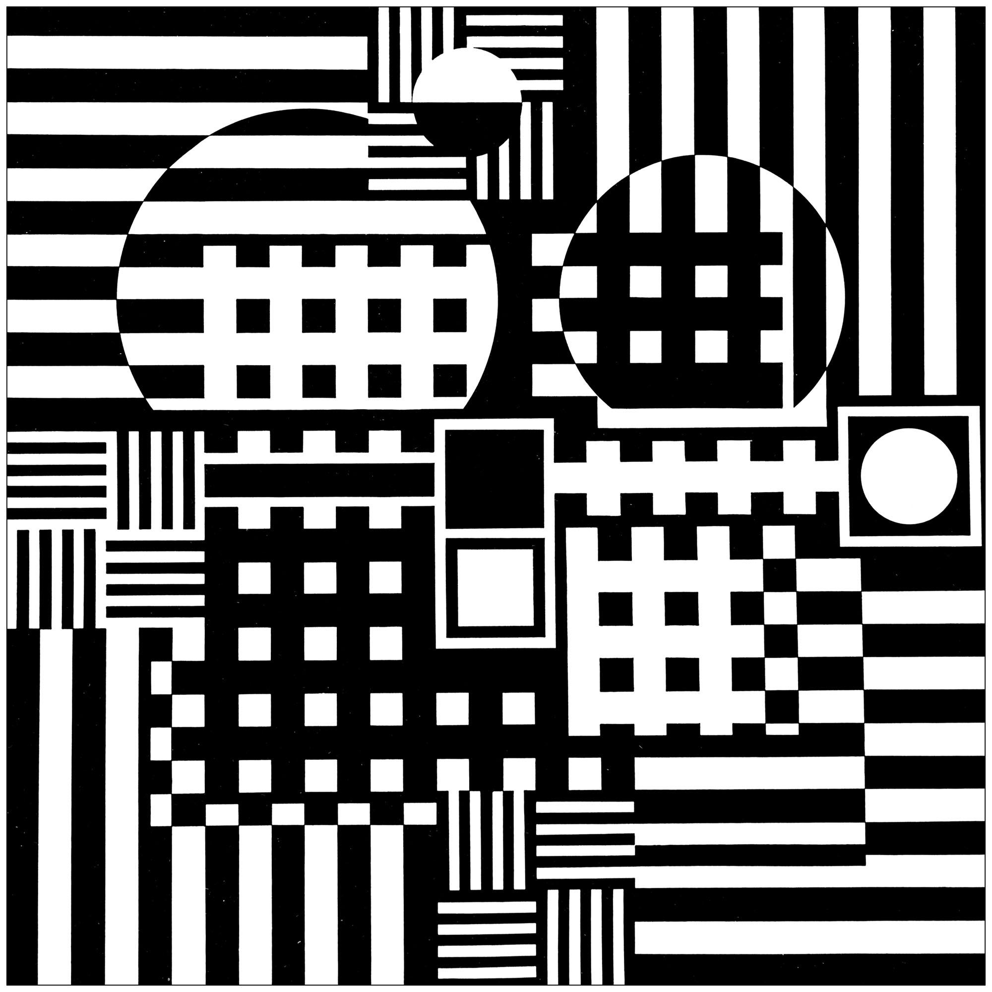 Coloriage créé à partir du tableau 'Jeruza' de Victor Vasarely (1957)