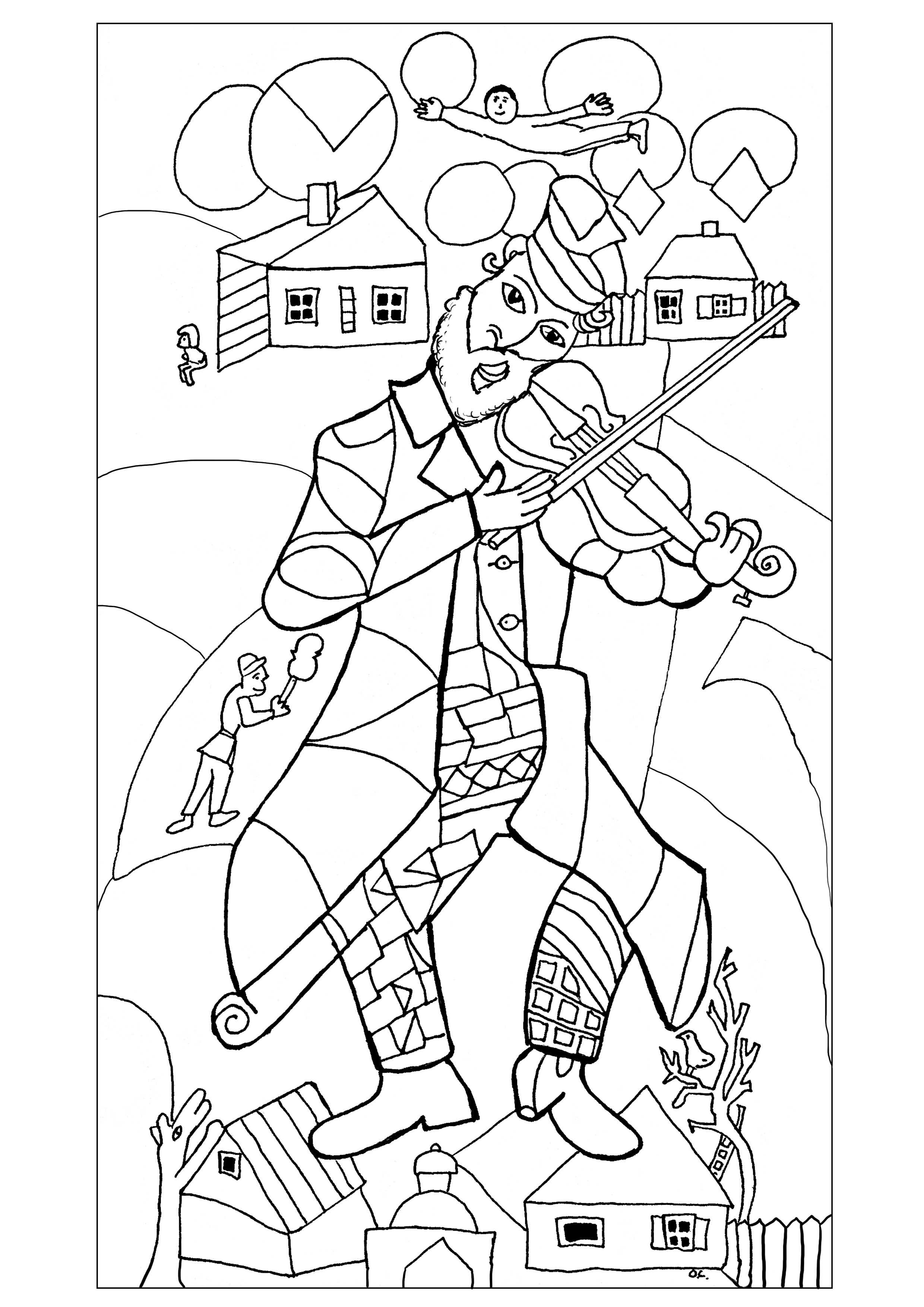 """coloring adult chagall the green violonist 1923 24 New York drawn by olivier """""""