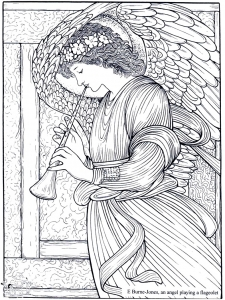 Coloriage adult burne jones an angel playing a flageolet