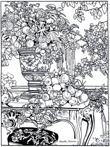Coloriage adulte bazille flowers