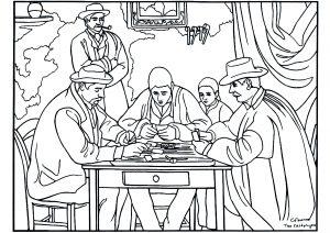 Coloriage adulte cezanne les joueurs de carte