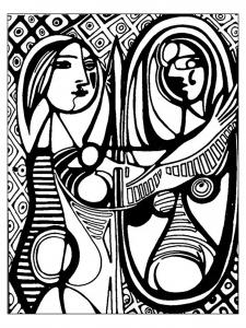 Coloriage adulte d apres picasso femme au miroir picasso