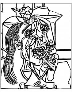 Coloriage adulte d apres picasso femme qui pleure 1937