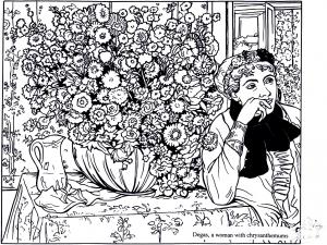 Coloriage adulte degas femme avec chrysanthemes