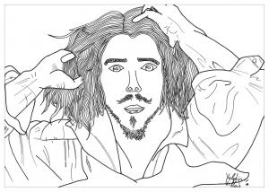 coloriage-adulte-dessin-autoportrait-courbet-par-valentin free to print